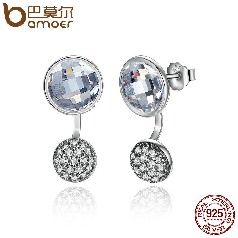 BAMOER 925 Sterling Silver Dazzling Poetic Droplets Clear CZ Stud Earrings - All Things Jewelry