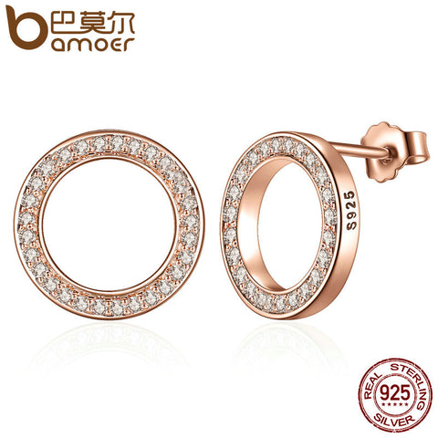 BAMOER Genuine 925 Sterling Silver Forever Rose & Clear CZ Circle Stud Earrings - All Things Jewelry