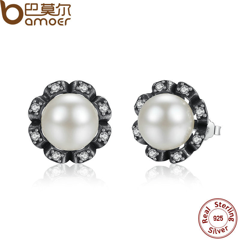 BAMOER Original 925 Sterling Silver Everlasting Grace Stud Earrings Freshwater Cultured Pearl - All Things Jewelry