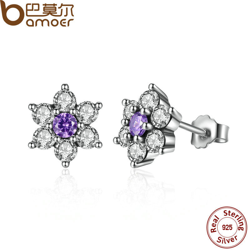 BAMOER 925 Sterling Silver Forget Me Not, Purple & Clear CZ Earrings - All Things Jewelry