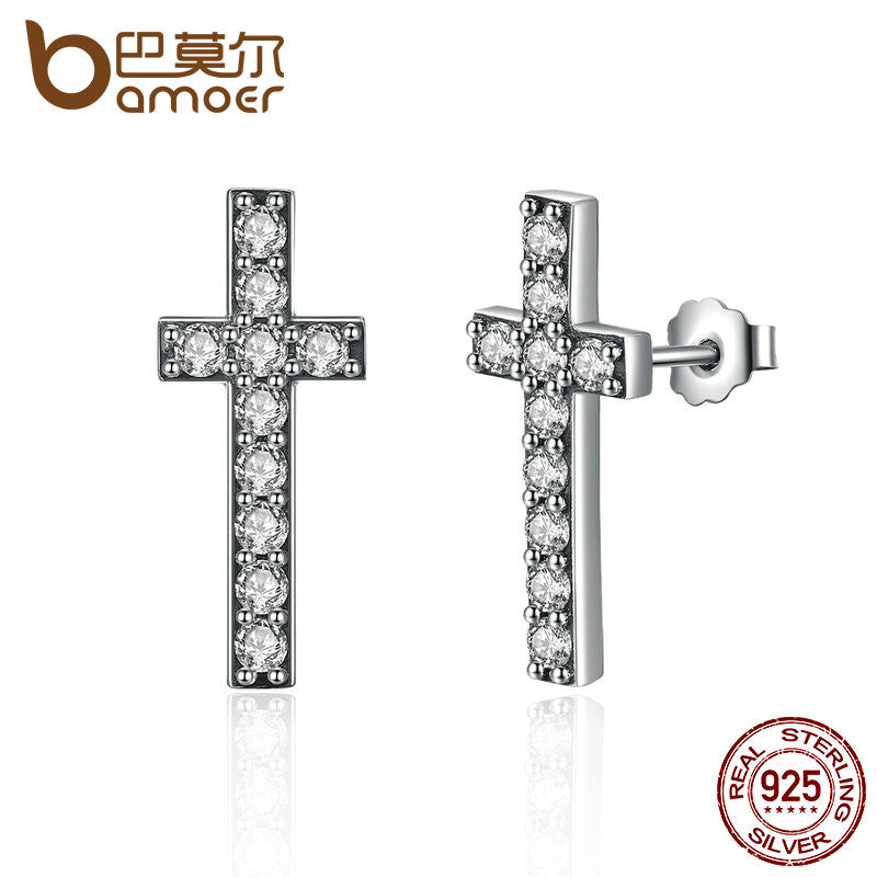 BAMOER 925 Sterling Silver Fashion Cross Stud Earrings With AAA Zirconia Push-Back Clasp - All Things Jewelry