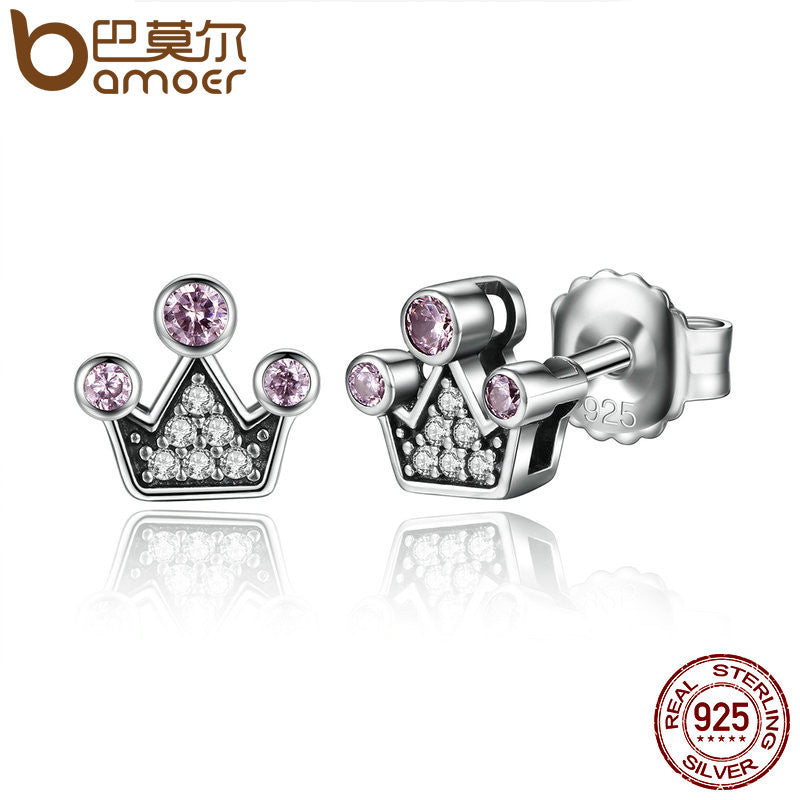 BAMOER Genuine 100% 925 Sterling Silver Pink Crystals Queen Crown Mountain Stud Earrings - All Things Jewelry