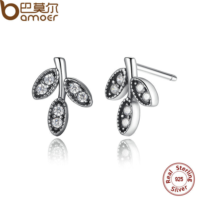 BAMOER 925 Sterling Silver Sparkling Leaves Stud Earrings Clear CZ - All Things Jewelry