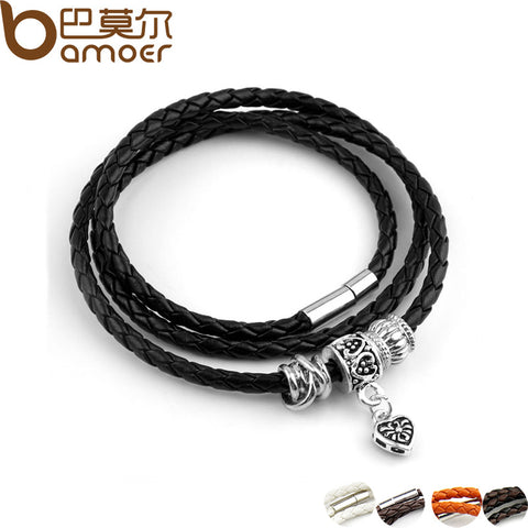 BAMOER Silver Charm Black Leather Bracelet Magnet Clasp - All Things Jewelry