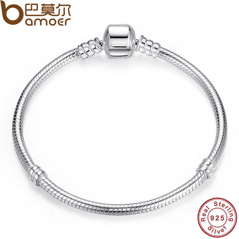 BAMOER Authentic 100% 925 Sterling Silver Snake Chain Bangle & Bracelet - All Things Jewelry