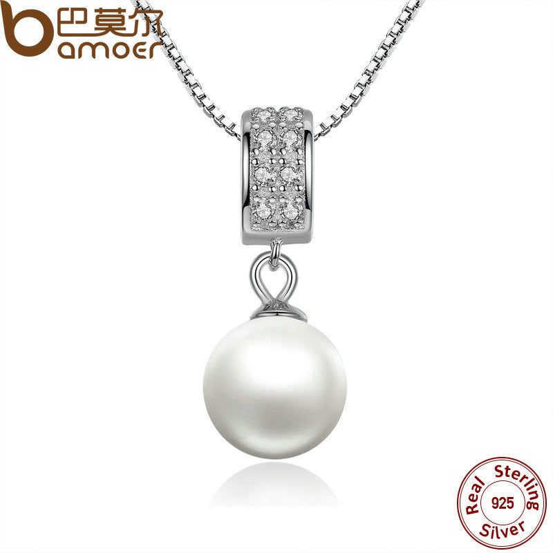 BAMOER 925 Sterling Silver Simulated Pearl Pendant Necklace Long Chain - All Things Jewelry