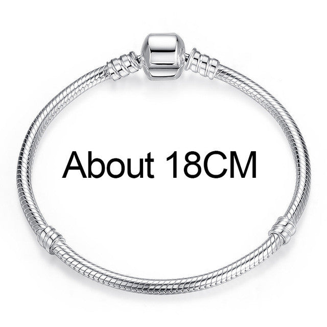 BAMOER Authentic 100% 925 Sterling Silver Snake Chain Charm Bracelet & Bangle Pave Star Cubic Zirconia CZ - All Things Jewelry