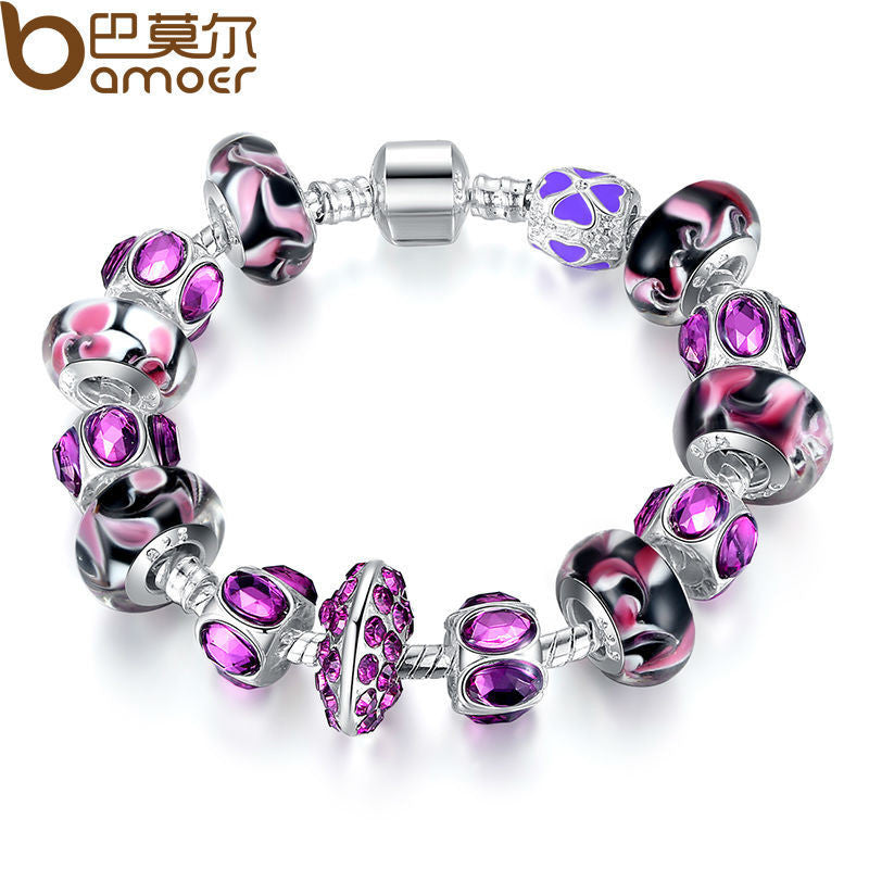 BAMOER European Style Silver Charm Bracelet with Purple Murano Glass Beads - All Things Jewelry