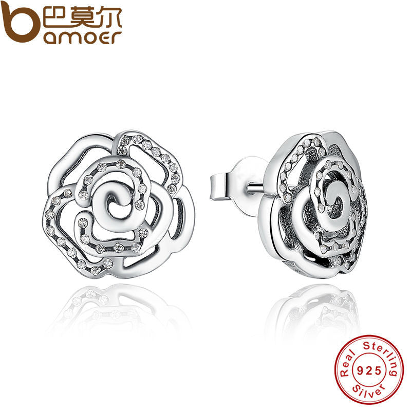 BAMOER Original 925 Sterling Silver Shimmering Rose Petals Flower Stud Earrings - All Things Jewelry
