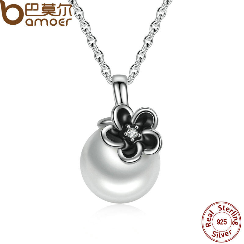 BAMOER 925 Sterling Silver Mystic Floral Pendant Necklace, White Pearl Necklaces & Pendants Colares Fine Jewelry PSN002 - All Things Jewelry