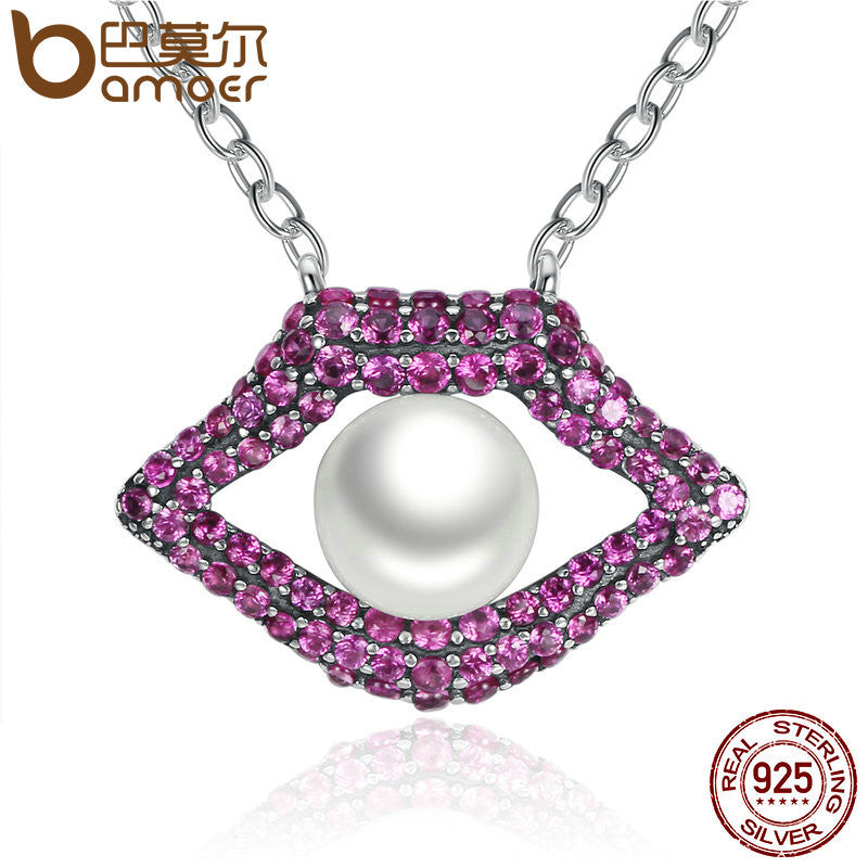 BAMOER 925 Sterling Silver Women Mouth Red Lips Sexy Necklaces With Pearl in the Mouth SCN047 - All Things Jewelry
