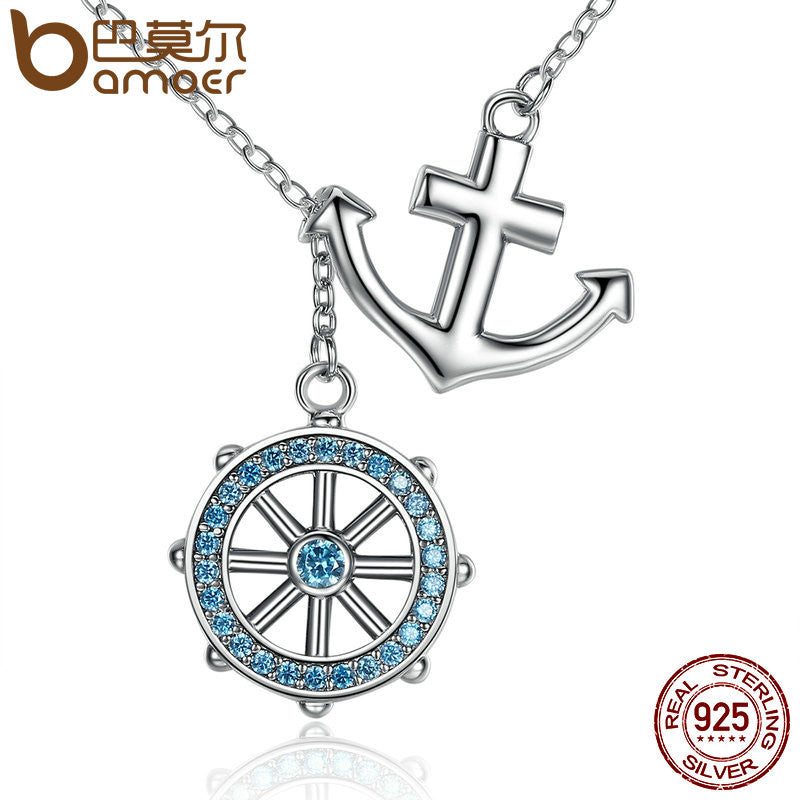 BAMOER 925 Sterling Silver Blue Anchor & Rudder Pendants & Necklace - All Things Jewelry
