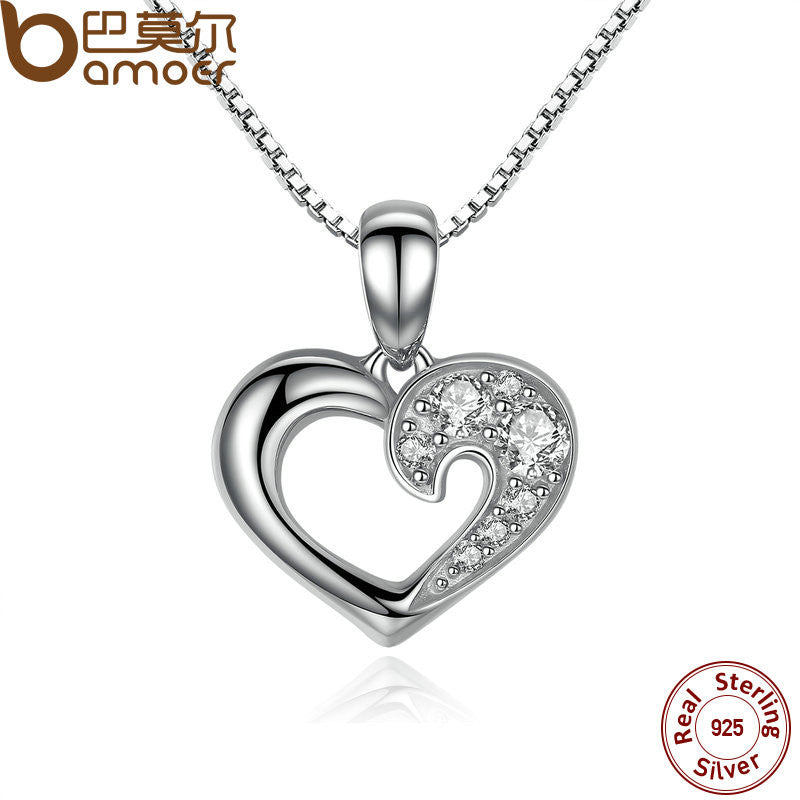 BAMOER 925 Sterling Silver Romantic Silver Heart Pendant Necklace - All Things Jewelry