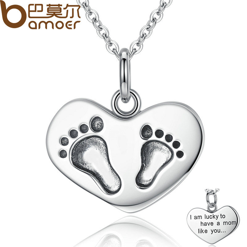 BAMOER 925 Sterling Silver Engrave Lucky To have A Mom Like You Baby Feet Pendant Necklace - All Things Jewelry