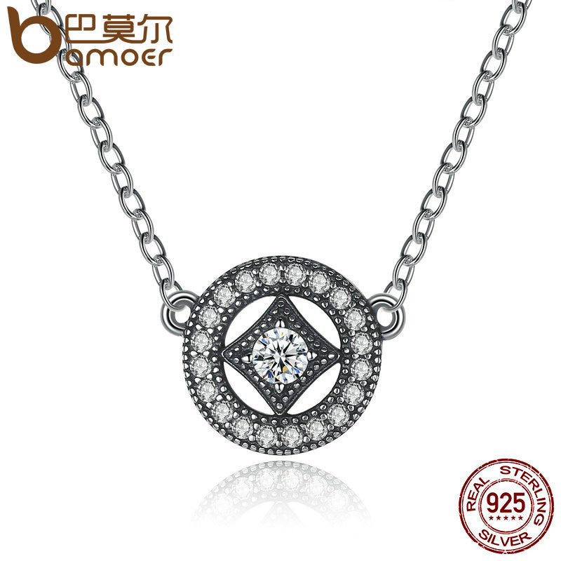 BAMOER Authentic Stunning 925 Sterling Silver Vintage Dazzling Allure with AAA Zircon Necklaces - All Things Jewelry