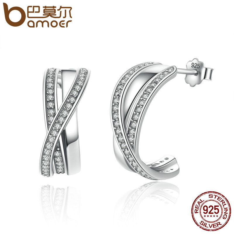 BAMOER Genuine 100% 925 Sterling Silver Entwined with Clear CZ Stud Earrings - All Things Jewelry