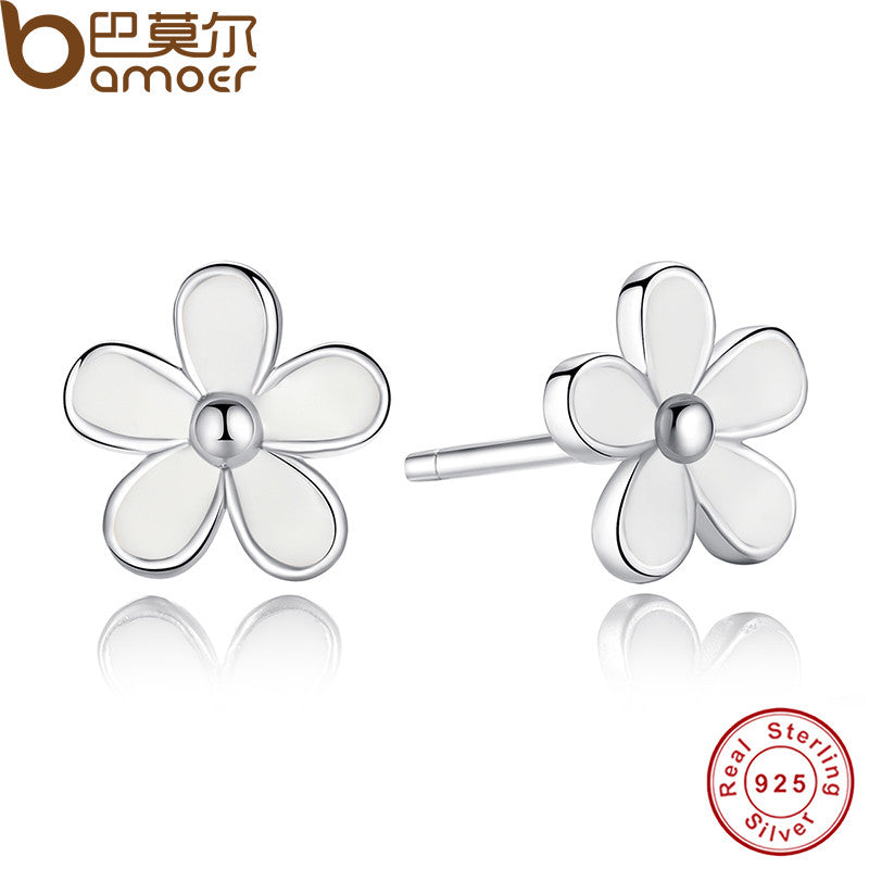 925 Sterling Silver Darling Daisy Stud Earring White Enamel With Clear CZ - All Things Jewelry
