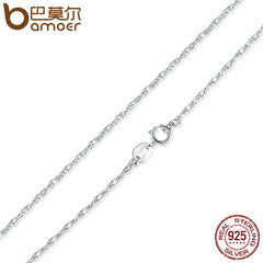 BAMOER 925 Sterling Silver Adjustable Basic Chain Necklace Lobster Clasp Simple Fashion Necklace Jewelry SCA002-45 - All Things Jewelry