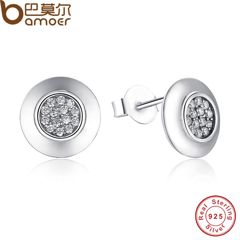 Authentic 925 Sterling Silver Signature Round Stud Earrings With Clear CZ - All Things Jewelry