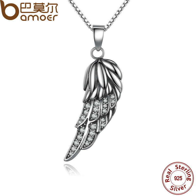 BAMOER New Popular Hot 925 Sterling Silver Wing Pendant Necklace - All Things Jewelry
