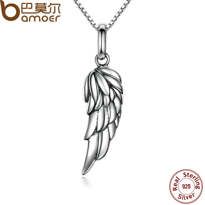 BAMOER New Authentic 925 Sterling Silver Feather Wing Pendant Necklace - All Things Jewelry