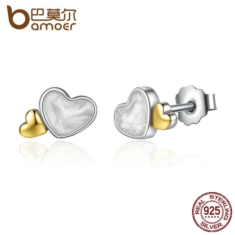 BAMOER Classic 100% 925 Sterling Silver LUMINOUS HEARTS ROMANTIC STUD EARRINGS - All Things Jewelry