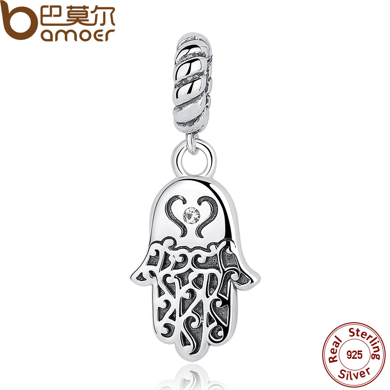 BAMOER 925 Sterling Silver Lucky Hamsa Hand Pendants Charm - All Things Jewelry