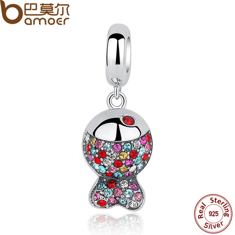 BAMOER 925 Sterling Silver Colorful Zircon Fish Charm - All Things Jewelry