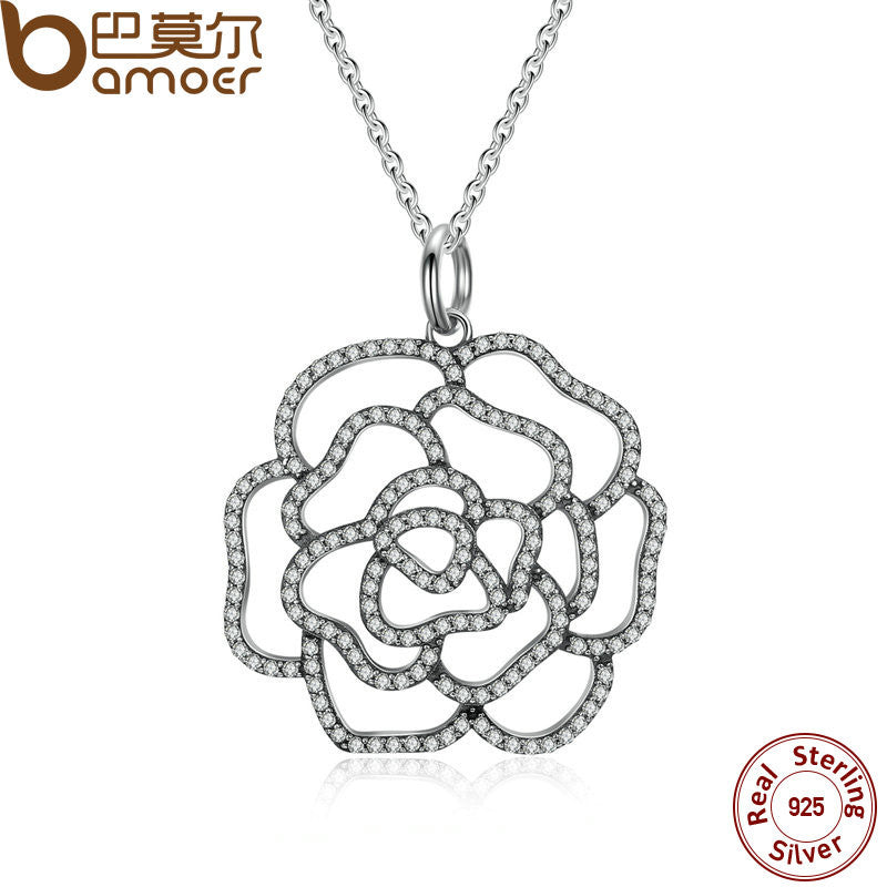 BAMOER 925 Sterling Silver Shimmering Rose Pendant Necklace, Clear CZ - All Things Jewelry
