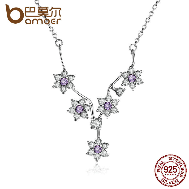 BAMOER 925 Sterling Silver Flowers Purple CZ Chain Necklace - All Things Jewelry