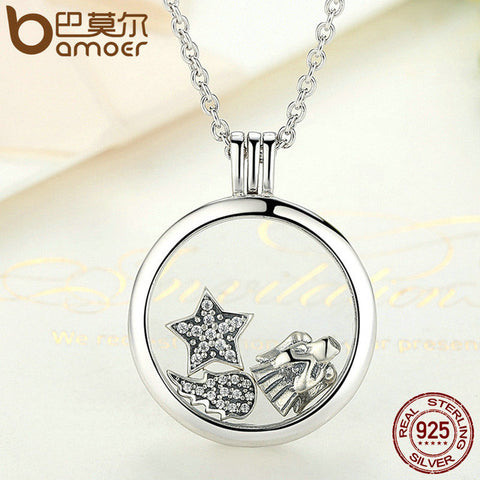 BAMOER Genuine 925 Sterling Silver Medium Petite Memories Floating Locket Necklaces & Pendants Sterling Silver Jewelry PSF001 - All Things Jewelry