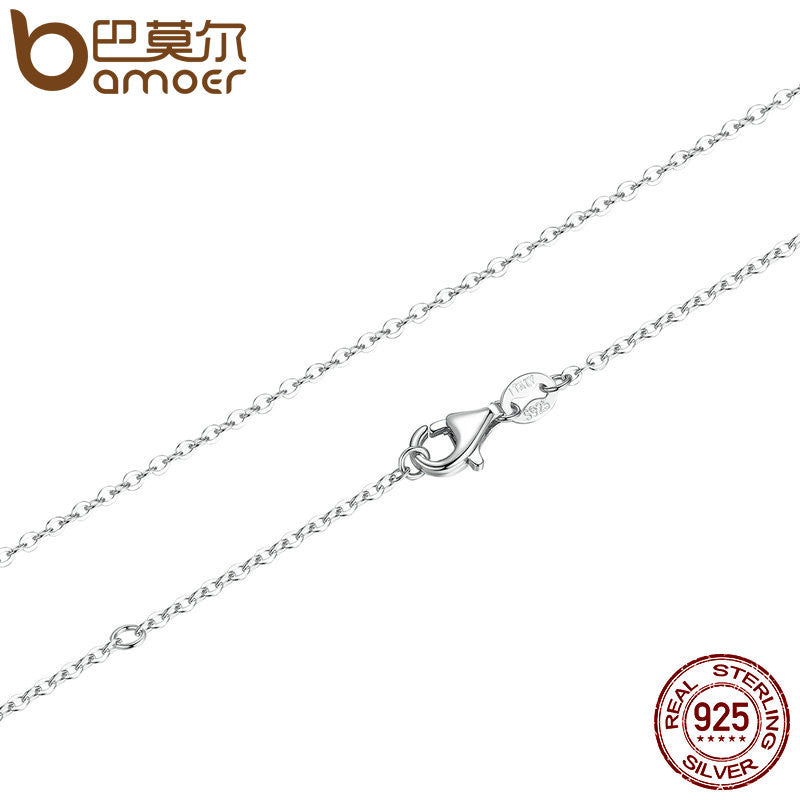 BAMOER 45CM Necklace Chain 925 Sterling Silver Lobster Clasp Adjustable Simple Chain - All Things Jewelry