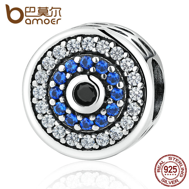 BAMOER 100% 925 Sterling Silver Blue Crystal Eye Round Bead Charm - All Things Jewelry