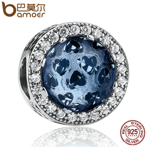 BAMOER 925 Sterling Silver Radiant Hearts, Moonlight Blue Crystal & Clear CZ Charm - All Things Jewelry