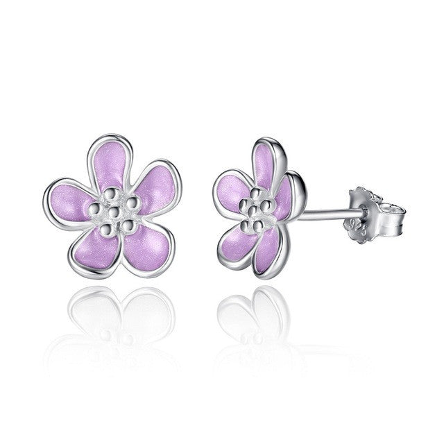 BAMOER Romantic 2 Color 925 Sterling Silver Cherry Blossom Stud Earrings, Purple Enamel - All Things Jewelry