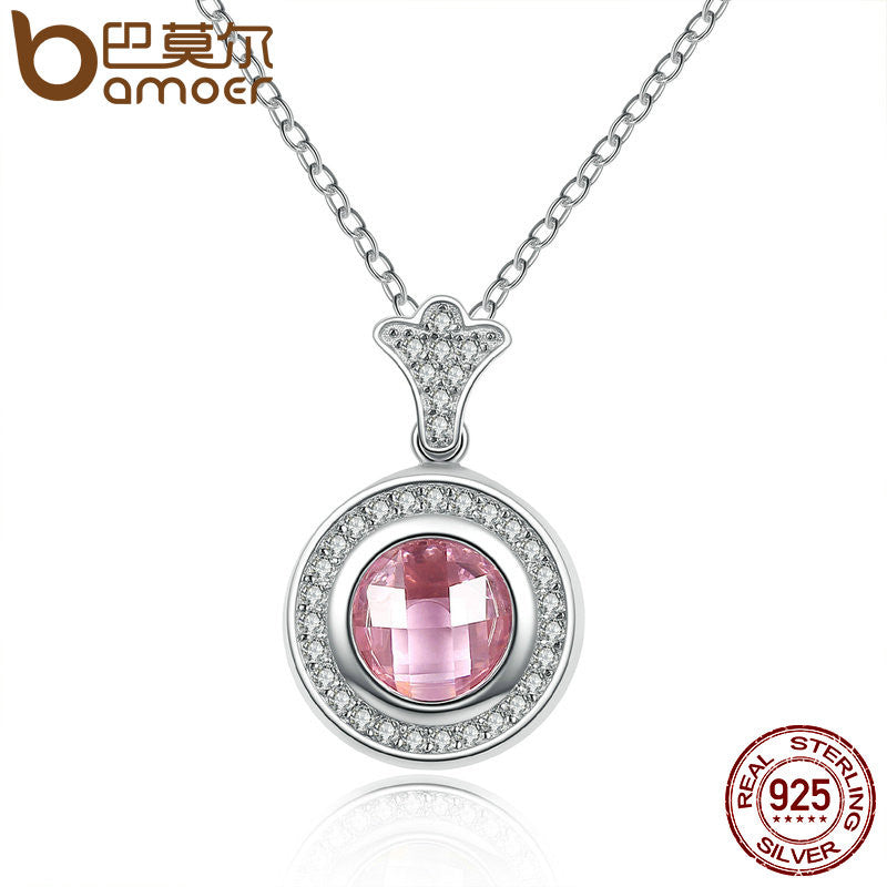 BAMOER Genuine 925 Sterling Silver Necklaces & Pendants & Pink Clear CZ Accessories for Women Sterling Silver Jewelry SCN063 - All Things Jewelry