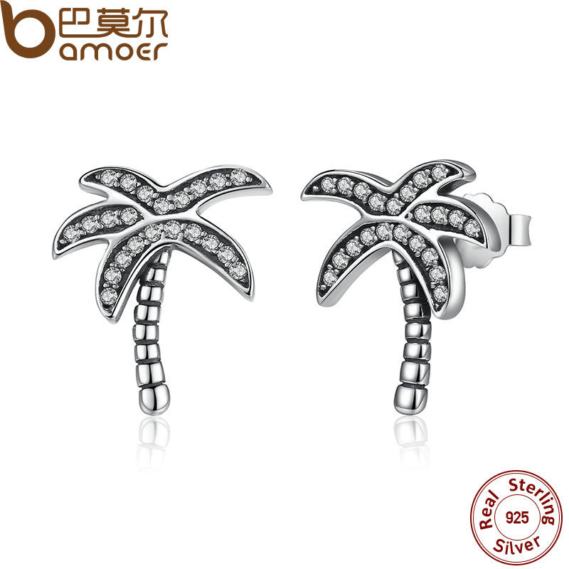 BAMOER Original 925 Sterling Silver Sparkling Clear CZ Palm Tree Stud Earrings - All Things Jewelry