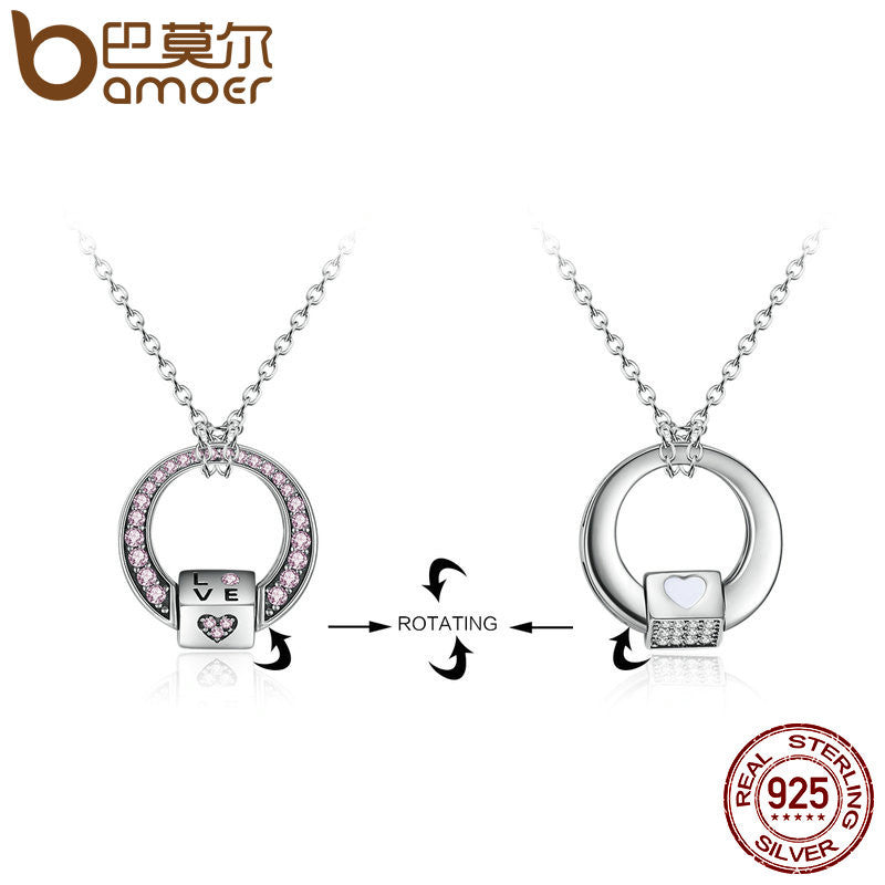 BAMOER 925 Sterling Silver Pink CZ Love Heart Pendants Necklaces for Women Valentines Gift Multifunctional Jewelry SCN060 - All Things Jewelry