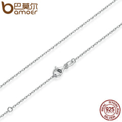 BAMOER Classic Basic Chain 100% 925 Sterling Silver Lobster Clasp Adjustable Necklace Chain - All Things Jewelry
