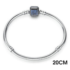 BAMOER Classic 100% 925 Sterling Silver Basic Chain with Blue Snake Clasp fit Charm Bracelets - All Things Jewelry