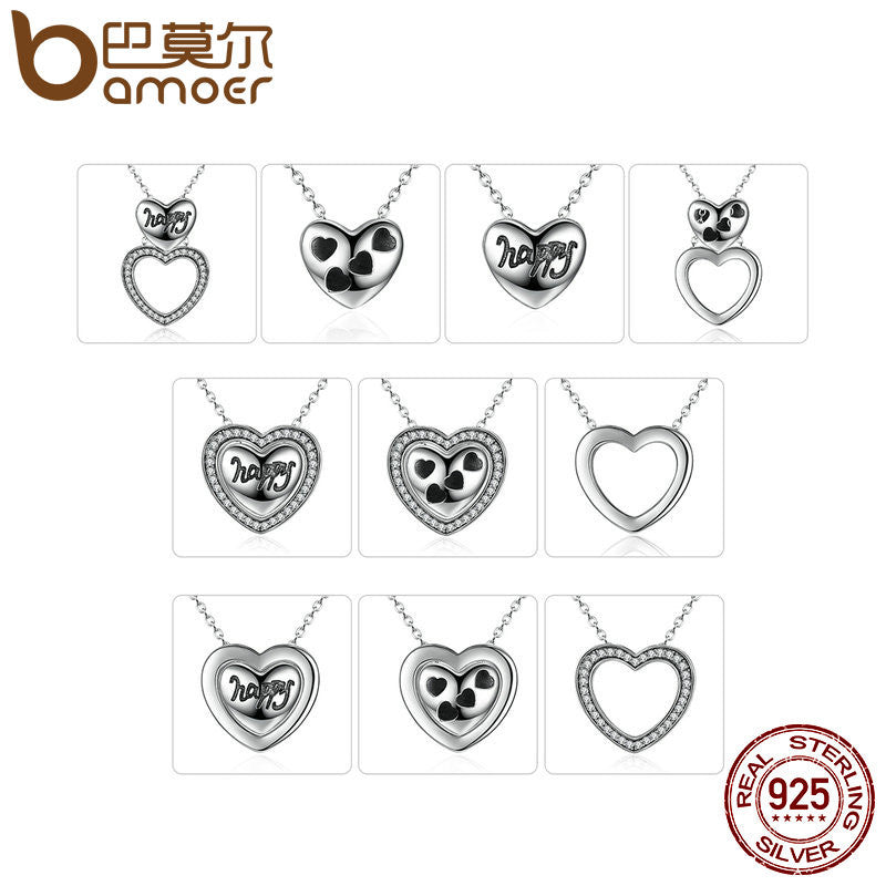 BAMOER 100% Real 925 Sterling Silver Happy Heart Pendants & Necklaces for Women Fashion DIY Multifunctional Jewelry SCN057 - All Things Jewelry