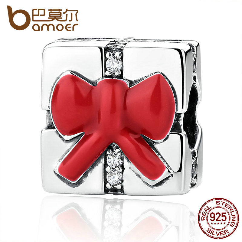 BAMOER 925 Sterling Silver Small Red Bow Knot Christmas Gift Charm - All Things Jewelry