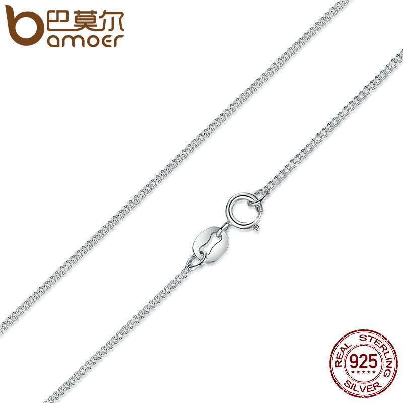 BAMOER Real 925 Sterling Silver Necklace Adjustable Chain Lobster Clasp Simple Chain - All Things Jewelry