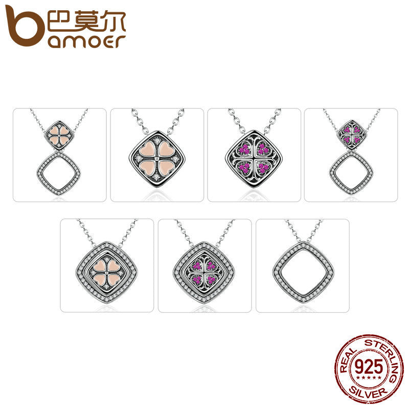 BAMOER Real 925 Sterling Silver Pink & Red Heart with Square Pendant Necklace - All Things Jewelry