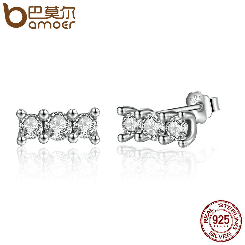 BAMOER 925 Sterling Silver Sparkling Elegance, Clear CZ Stone Stud Earrings - All Things Jewelry