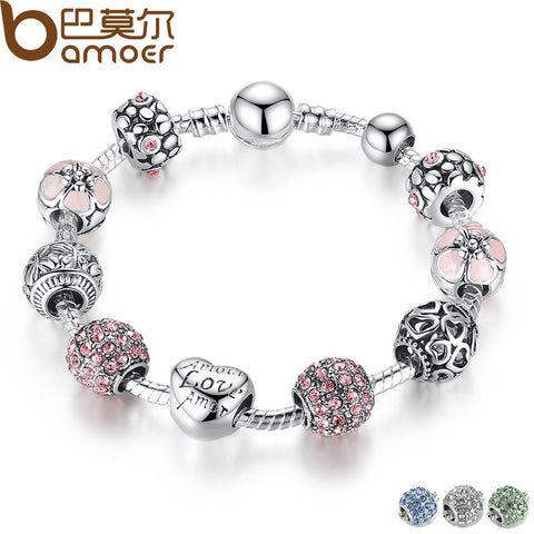BAMOER Antique Silver Charm Bracelet & Bangle with Love and Flower Crystal Ball - All Things Jewelry