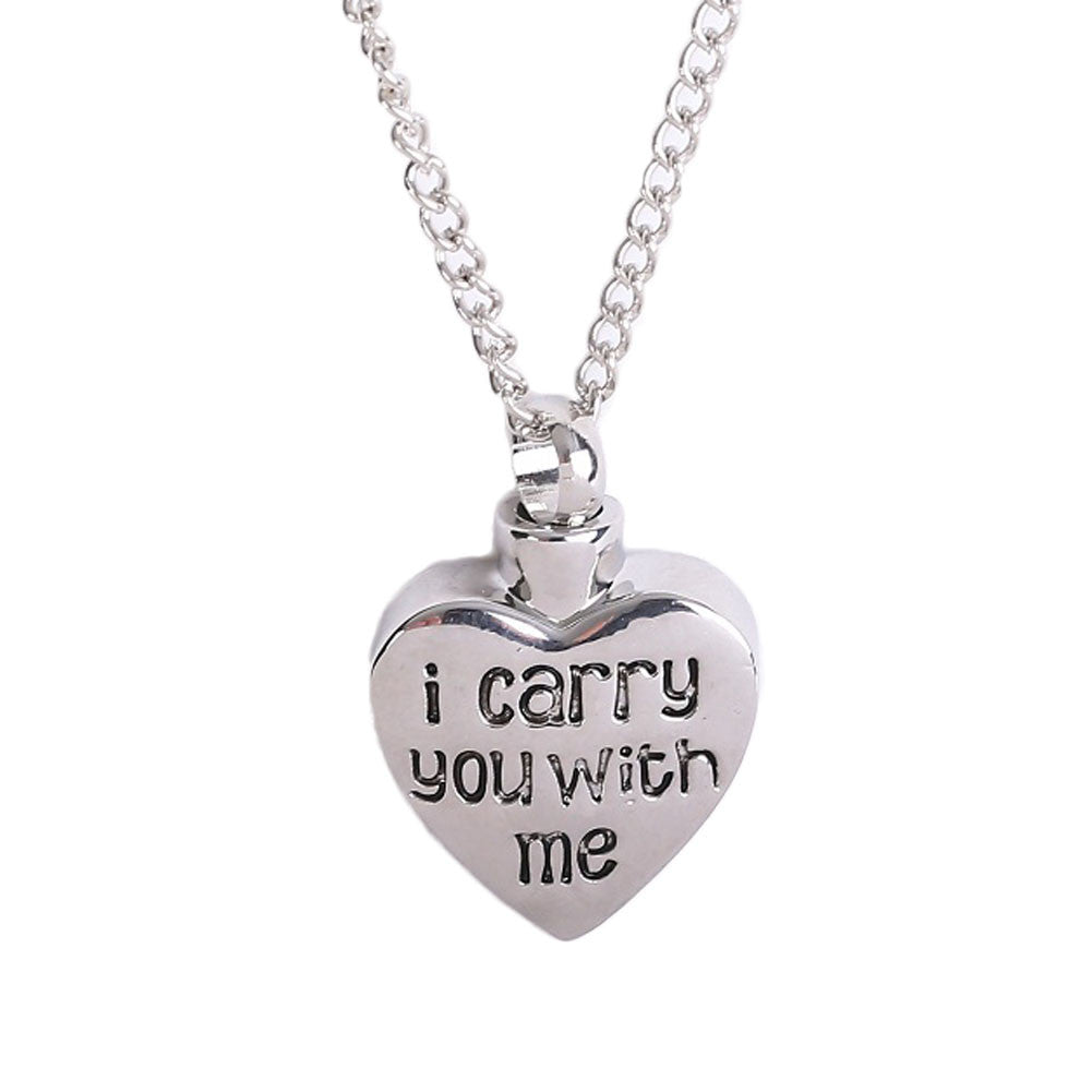 2017 Fashion Letter I Carry You With Me Heart-shape Cremation Jewelry Urn Pendant Necklace - All Things Jewelry