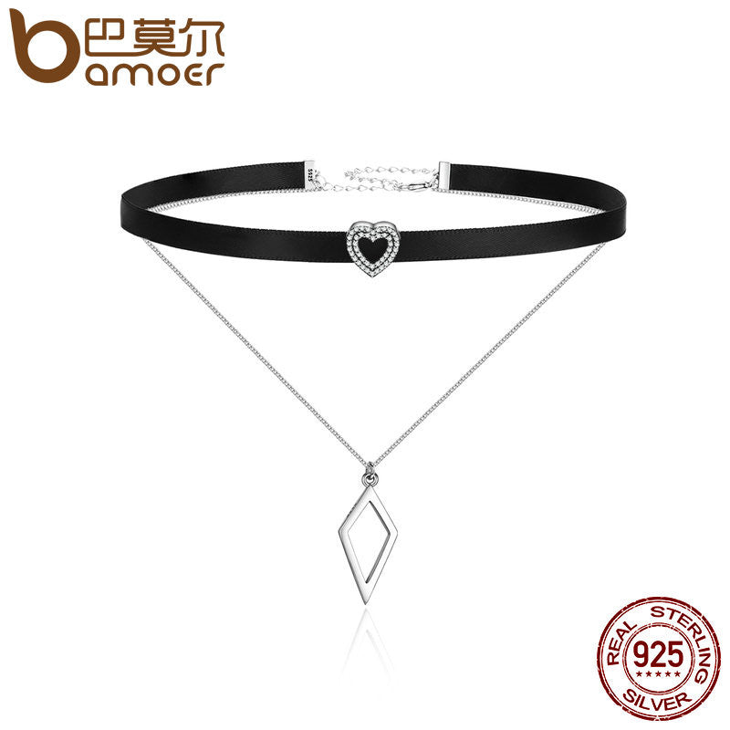 BAMOER Trendy 925 Sterling Silver Double Layer & Black Braid Heart Prism Square Chokers Pendant Necklaces - All Things Jewelry
