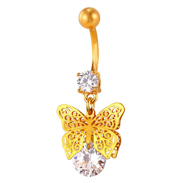 U7 New Butterfly Belly Button Ring For Women Gift Body Jewelry Party Cubic Zircon Belly Navel Ring - All Things Jewelry