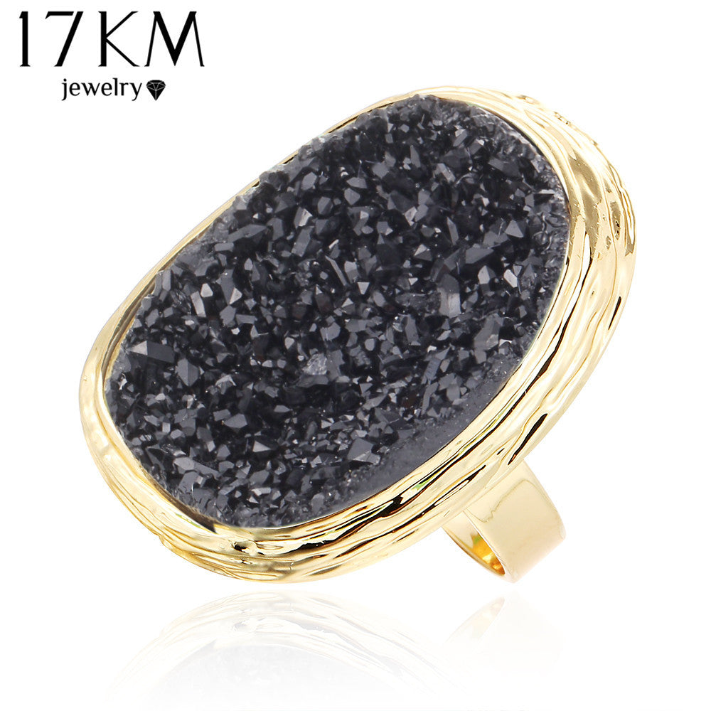 17KM Natural Stone Rings 4 Colors Big Gold Color Adjustable Ring - All Things Jewelry